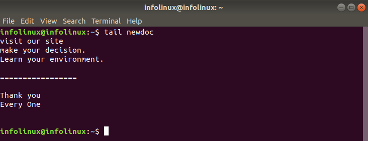 linux tail command - simplest form