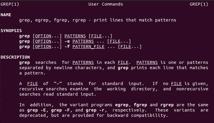 linx grep command man page