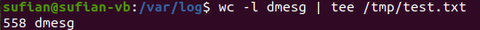 linux tee command simplest example