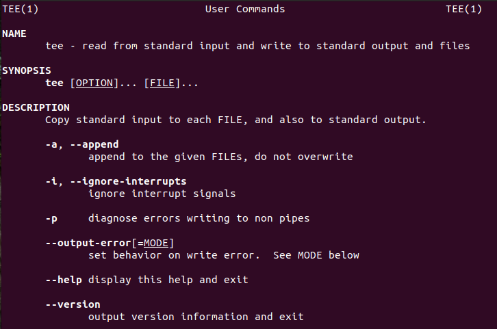 linux tee command man page - partial